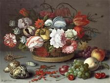 BALTHASAR VAN DER AST DUTCH BASKET FLOWERS OLD ART PAINTING POSTER BB4916A