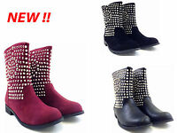NEW LADIES WOMEN STUDS OVER THE ANKLE BOOT LOW HEEL BOOT SIZE 3 4 5 6 7 8