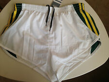 women's adidas split short NWT S athletic running shorts white green yellow