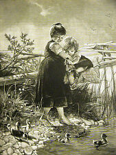 Toddler & Baby Duckings FIRST TIME in WATER 1887 CHILDREN Antique Print Matted