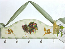 Handpainted Rooster Kitchen / Key Wooden Rack By Cute Tools ! U.S.A. , NWT
