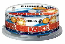 25 Pack PHILIPS DVD+R 4.7GB 120 MINS 16 X SPEED RECORDABLE BLANK DISC