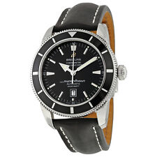 Breitling Superocean Heritage 46 Automatic Black Dial Black Leather Mens Watch
