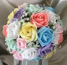 Wedding Flowers Brides Bouquet pastel  Rainbow roses posy gyp/diamante