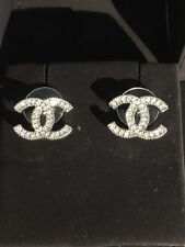 AUTHENTIC CHANEL CRYSTAL CC STUDS EARRINGS BRAND NEW