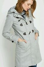 R Essentiel - La Redoute Long Hooded Duffle Coat Grey Size 10