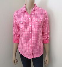 NEW Hollister Womens Plaid Flannel Shirt Size XS Top Blouse Pink & White