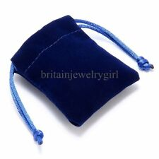 "Lot of 10pcs Small 2.75""X3.5"" Blue Velvet Jewelry Wedding Party Gift Bag Pouches"