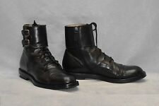 H0 Auth GUCCI Black Leather Buckle/Laced/Side Zip Cap Toe Ankle Boot Shoes Sz 11
