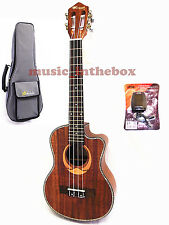 "WOODNOTE /Pro. Cutaway Designed 26"" Top Solid Acacia Tenor Ukulele & Padding Bag"