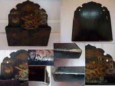 ANCIEN PORTE COURRIER RANGE LETTRE MURAL XIXEME NAPOLEON III DECOR JAPONISANT
