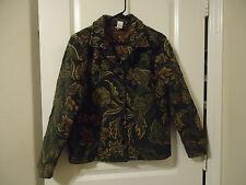 First Option Size S Tapestry  Jacket Blazer Floral Dark Green Brown Beige