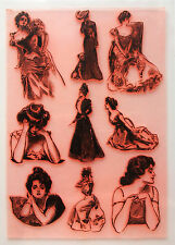"Clear Stamps Sheet 7""x10"" ~ Victorian Girl Portrait FLONZ Vintage Rubber 403-017"