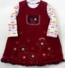 Osh Kosh B'Gosh Baby Girl Pinafore Needle Cord Red M&S BodySuit Age 12-18 Months