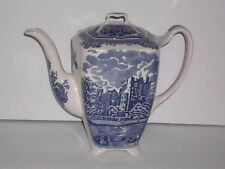 JOHNSON BROSTHERS OLD CASTLE BLUE COFFEE/TEA POT NEW