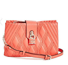 NWT GUESS Shea Crossbody Handbag Purse Quilted Coral Pink