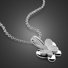 Charm Solid Sterling Silver Butterfly Pendant O Chain Lady's Necklace N341