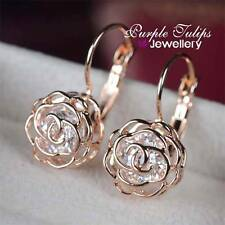 18CT Rose Gold GP Shinning Hollow Out Rose Hoop Earrings W/ Swarovski Crystals