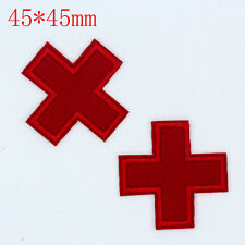 DIY Red Cross pattern Embroidered Iron On Patches Clothes Appliques Sew Crafts