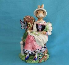 Fitz and Floyd Old World Rabbits Lady Easter Bunny Candle Holder Butterfly Tulip