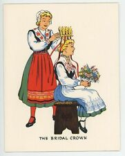 VINTAGE SWEDISH GIRL WEDDING CROWN PANCAKES BERRY CREAM RECIPE PRINT 1 DUCK CARD