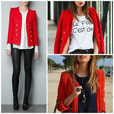 ZARA FANTASY RED TWEED BOUCLE MILITARY STYLE JACKET BLOGGERS SIZE MEDIUM M