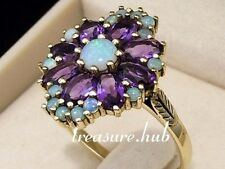 R278 Genuine 9ct Gold SOLID Natural Opal & Amethyst Cluster Ring size O