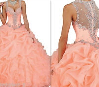 New Coral Evening Dresses Floor Length Prom Party Pageant Quinceanera Ball Gowns