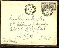 MALAYA KEDAH (P1012B) 1935 4CX2 1932 COVER TO LONDON