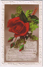 A Wish for Joy on your Birthday Mother Dear -  Vintage Postcard - Rose Design