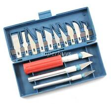 16pc Assorted Hobby Craft Knife Scalpel Blade & Handle Etching Scribe Set Tool