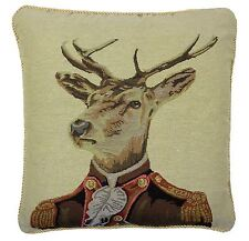 "OFFICER STAG DEER TAPESTRY COTTON VELVET RED BROWN BEIGE CUSHION COVER 18"" 45CM"