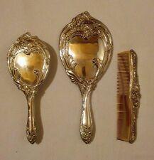 Vintage Vanity Set!  3 PIECES  SILVER TONE METAL!  HEAVY!  SCROLLS & FLOWERS