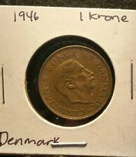 DENMARK 1 KRONE 1946 Awesome World Coin Christian X Konge Af Danmark