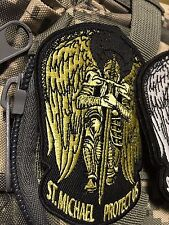 ST. MICHAEL PROTECT US Tactical Army MORALE ISAF GOLD PATCH Wings Sword hook