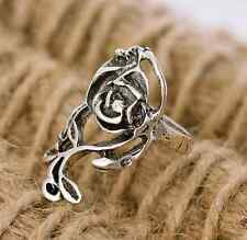 Women Lady Hot Sale Fashion Retro Antique Silver Rose Carved Flower Rings Gift