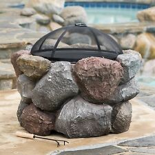 Outdoor Garden Natural Stone Style Round Liquid Propane Fire Pit