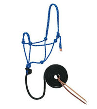 Weaver Royal Blue Black & White Rope Halter with Lead HORSE TACK 35-7800-R10