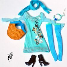 Barbie doll Fashion clothes outfit dress & handmade jewelry set for barbie dolls