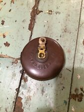 Vintage railway measuring tape , leather case ,wind up tape With Brass Winder.