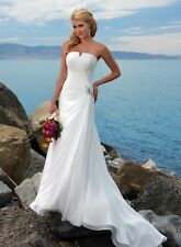 White Ivory Beach Wedding Dress Bridal Gown Custom Size 4 6 8 10 12 14 16 18 20
