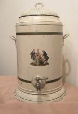 very large antique C.B. Porter hand painted metal water cooler dispenser canteen