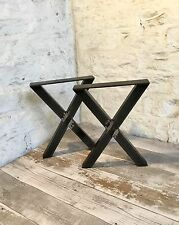 2 Handmade X Cross Raw Steel Bench Upcycle Furniture Seat Legs Industrial Style