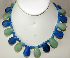 CLASSY BLUE & GREEN AVENTURINE FACETED TEAR DROP CHOKER NECKLACE STERLING CLASP