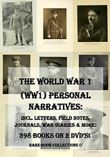 WORLD WAR 1, WW1 LETTERS DIARY JOURNAL PERSONAL SKETCHES - 398 RARE BOOKS ON DVD
