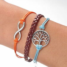2015 New Jewelry Fashion Leather Infinity Charms Bracelet Silver Free Shipping