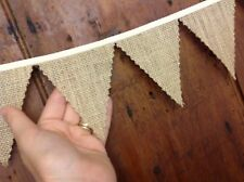 Rustic Mini bunting hessian burlap 4 inch flags per meter ideal wedding table
