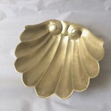 Vintage Extra Large  Brass Sea Shell Soap Dish Dolphin feet Victorian
