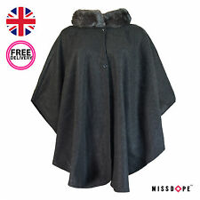 NEW GREY FAUX FUR PONCHO COAT WOMENS CAPE TRIM WARM CARDIGAN CELEB WRAP OUTWEAR