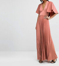 BRANDED Pleated Ruffle Cape Tiered Maxi Evening Dress in Mink UK 10/EU 38/US 6